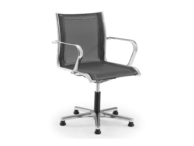 Sedia per ufficio su ruote con seduta e schienale in rete idfdesign