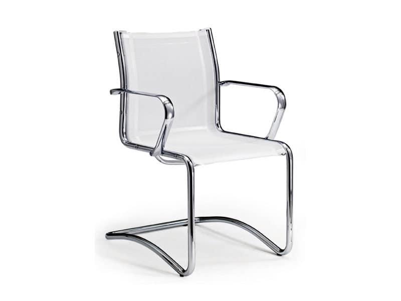 Poltroncina in pelle per ufficio con braccioli cromati for Pelle per rivestimento sedie