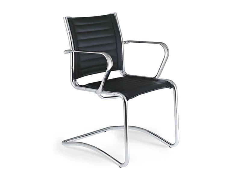sedia in acciaio cromato con rivestimento in pelle idfdesign