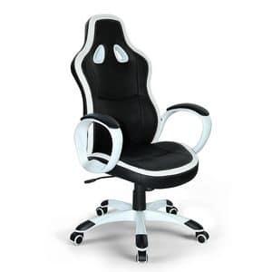 Poltrona gaming ufficio ecopelle sedia � SU035RAC, Sedia sportiva per ufficio, stabile e comodissima