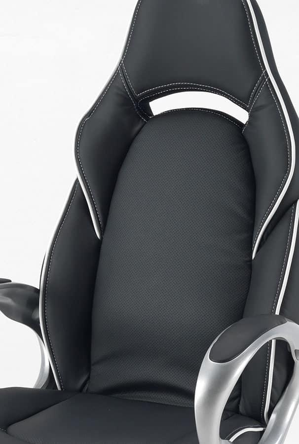 Sedie Sportive Ufficio.Sedia Da Ufficio In Eco Pelle Con Braccioli Robusti