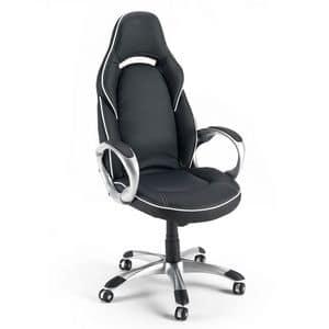 Poltrona sedia gaming ufficio sportiva - SU131RAC, Sedia da ufficio, in eco-pelle, con braccioli robusti