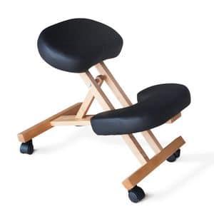 Sedia ortopedica legno ufficio � PN100LEG, Sedia per ufficio con ruote, ortopedica ed ergonomica