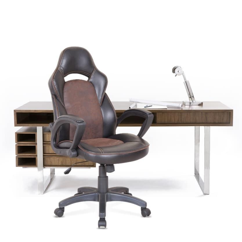 Sedia con ruote per ufficio, con cuciture in vista | IDFdesign