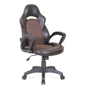 Sedia ufficio poltrona sportiva racing ergonomica � SU001RAC, Sedia con ruote per ufficio, con cuciture in vista
