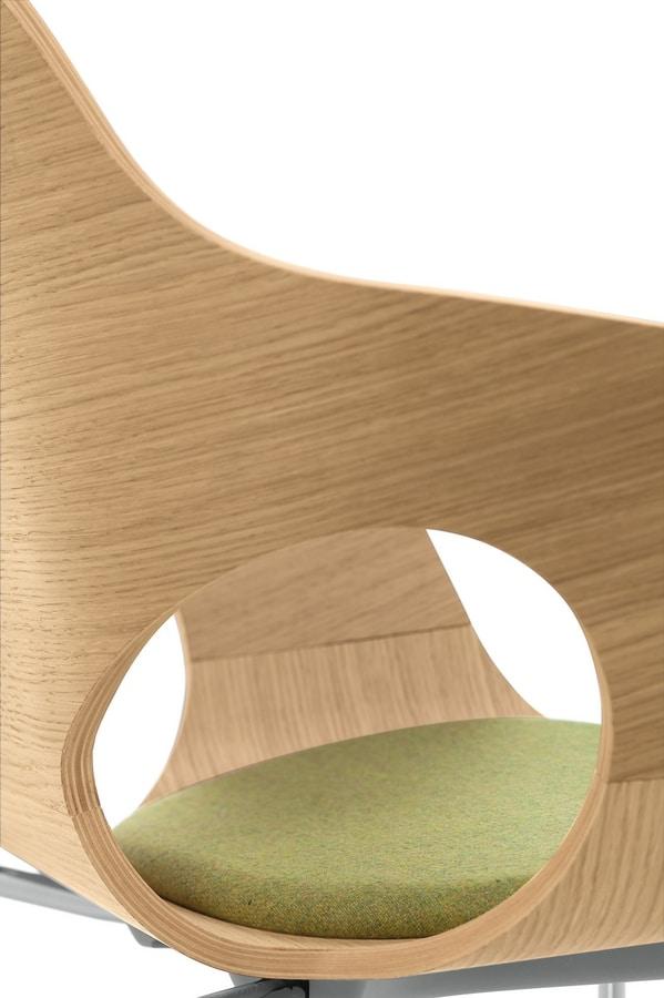 Spark Wood 02, Sedia girevole con alzata a gas, scocca in legno