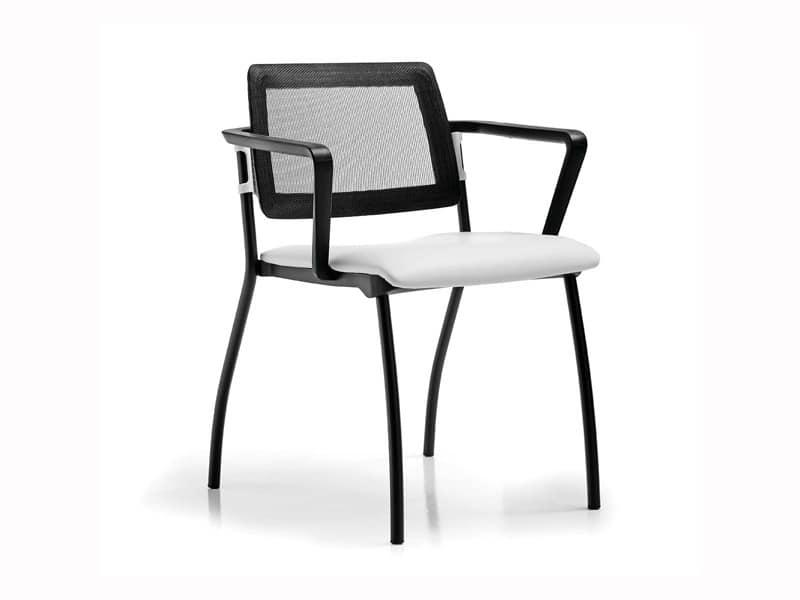 Sunny rete, Sedia con seduta imbottita, schienale in rete, per clienti