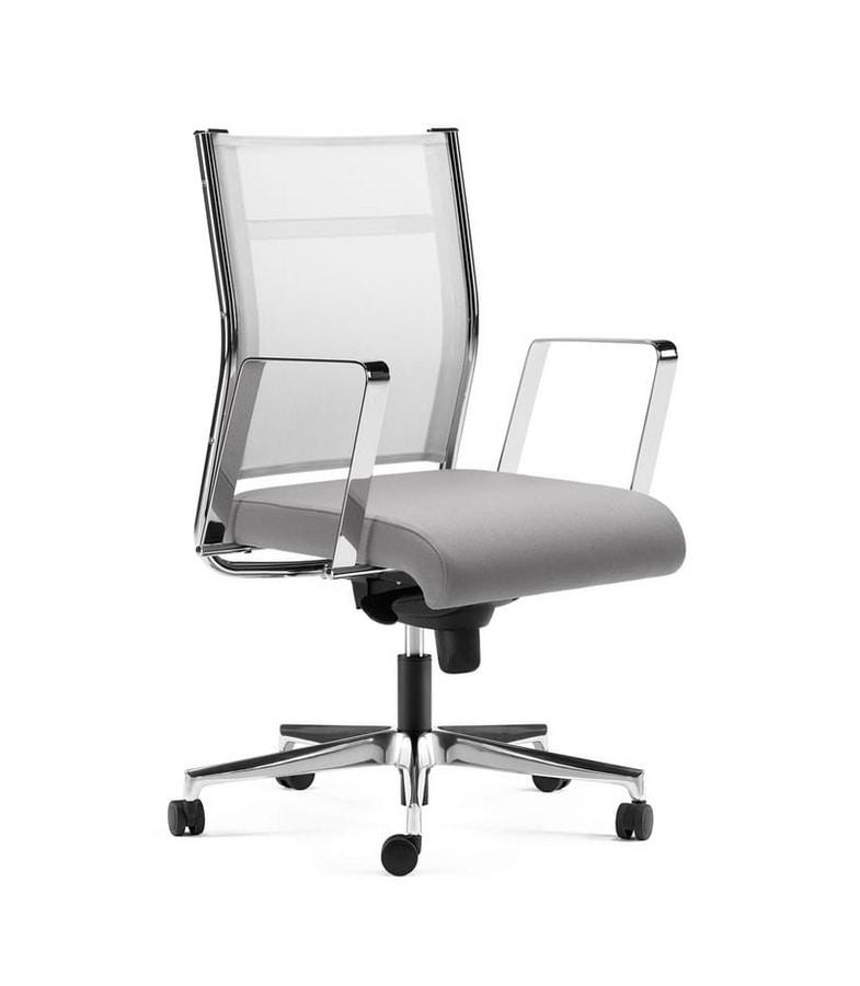 Sedia semi direzionale, schienale rete, base e braccioli in