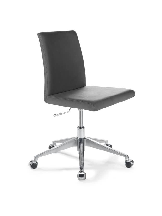 sedia ufficio con alzata regolabile con seduta in pelle