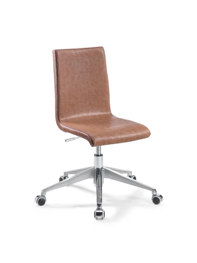 Sedia ufficio regolabile con ruote, con seduta in eco-pelle  IDFdesign