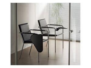 Vivo TA, Sedia in metallo con tavola scrittoio per sala conferenza