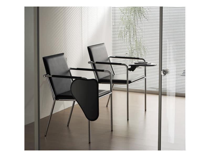 Sedia in metallo con tavola scrittoio per sala conferenza for Scrittoio per ufficio