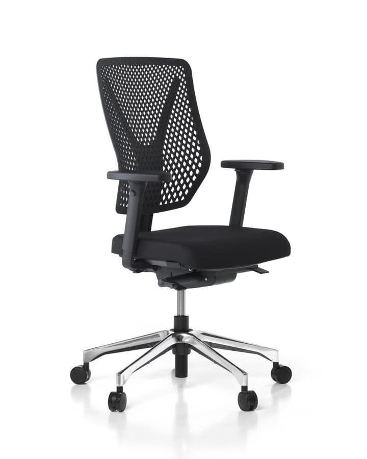 Sedia ufficio con schienale in rete e braccioli regolabili for Negozi sedie ufficio