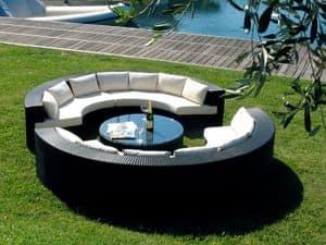 Atol set, Set da esterno con divano a mezzaluna e tavolino