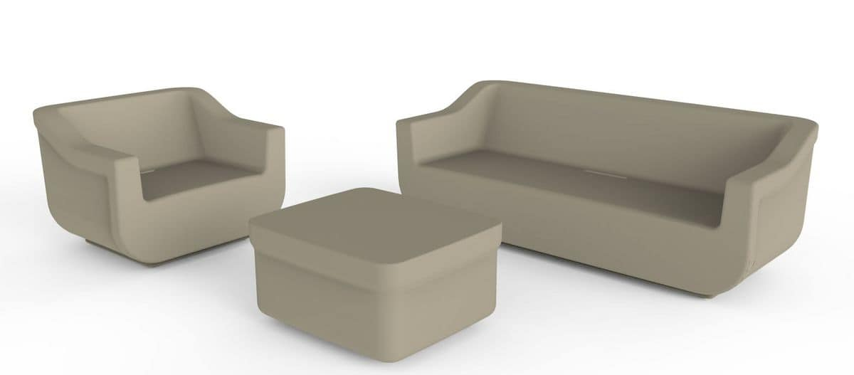 Cliff Set, Set giardino in polietilene, poltrona, divano e tavolino