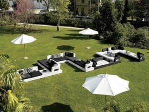 Domino, Divano componibile da giardino, intrecciato in fibra sintetica