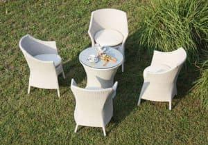 Frodo set, Sedute e tavolo intrecciati, struttura in alluminio, per esterno
