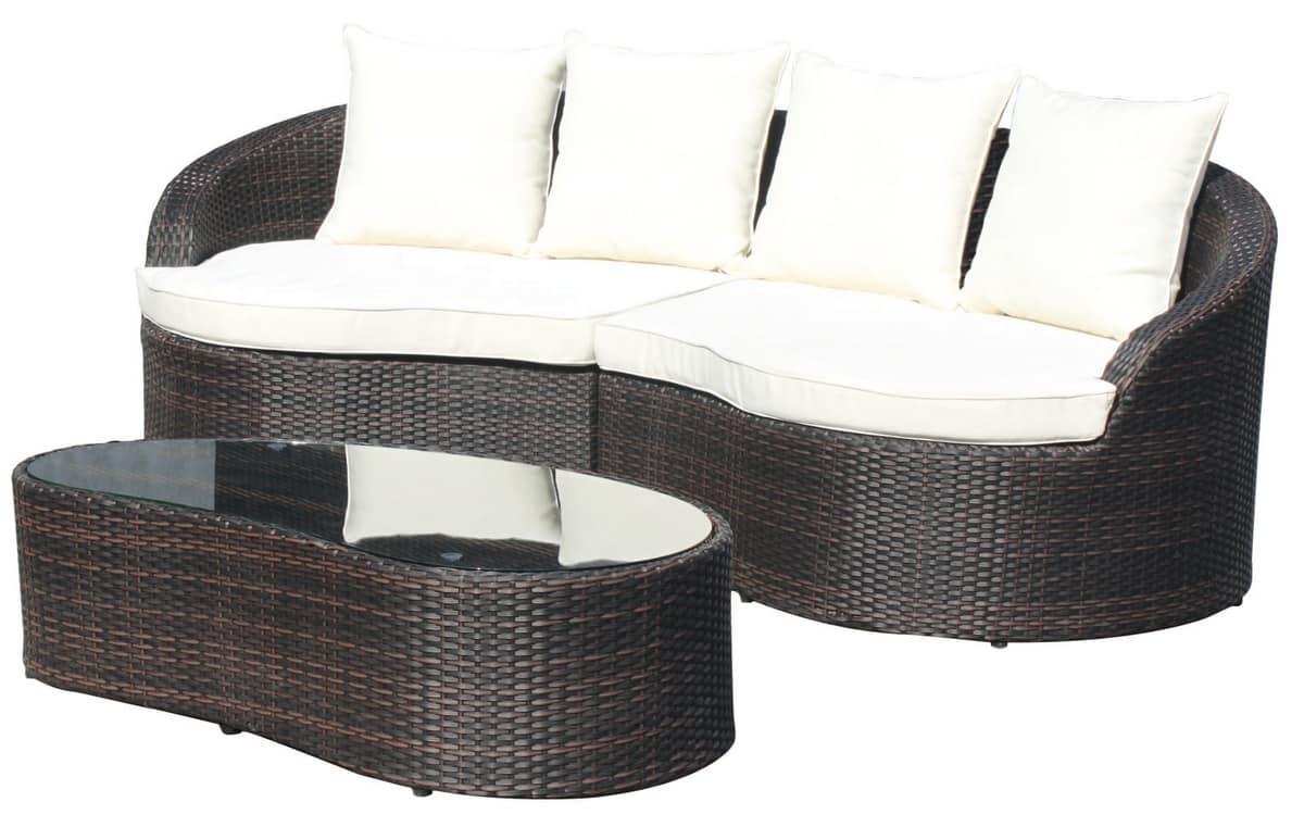 Ibiza Set, Set da esterno, in alluminio intrecciato, per giardini