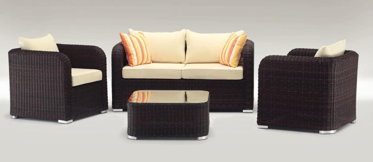 Nizza Set, Set da esterno con divano, poltrona e tavolino, intrecciati