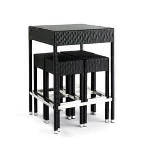 Set esterno, Sgabelli e tavolo intrecciati per uso esterno, piano in vetro