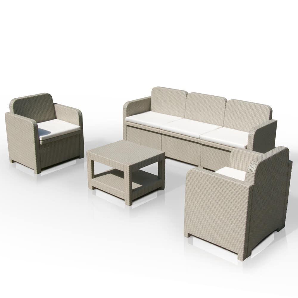 Set da giardino, con divano, in rattan, con cuscini | IDFdesign