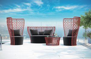 SET QUEEN, Set da giardino con divano,poltrona e tavolino