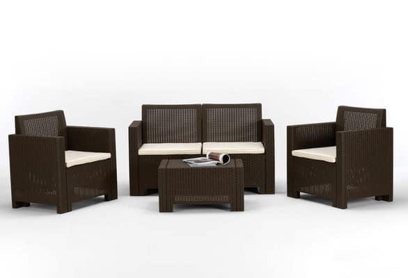 Set arredo da giardino set4ala for Set tavolo e sedie da giardino rattan