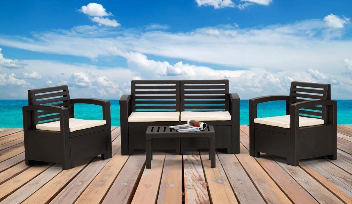 Set arredo per esterni divano e poltrone per giardino - Set da giardino ...
