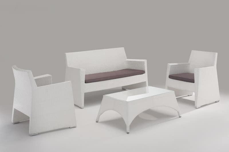 Sedie divanetto e tavolo da giardino per esterno seduta for Arredo da terrazza giardino