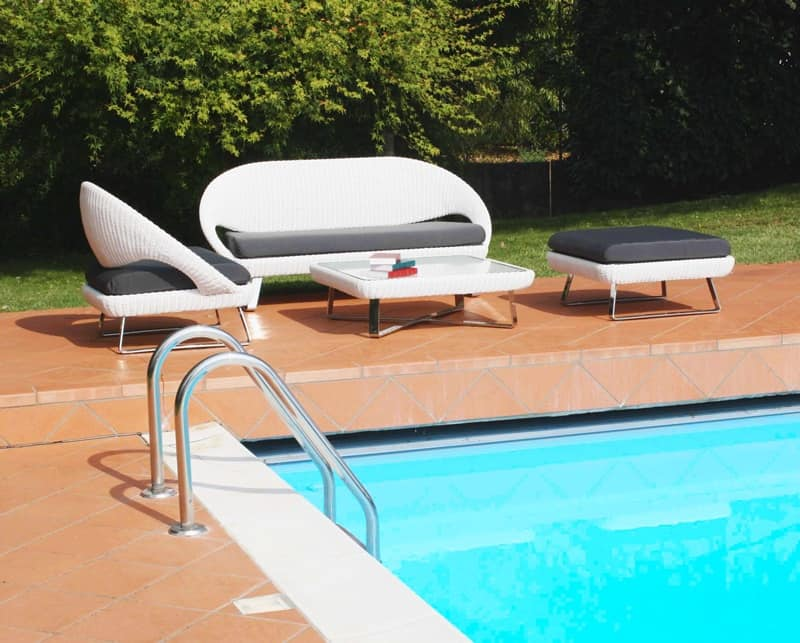Set mobili da esterno seduta con cuscino imbottito for Set arredo giardino offerte