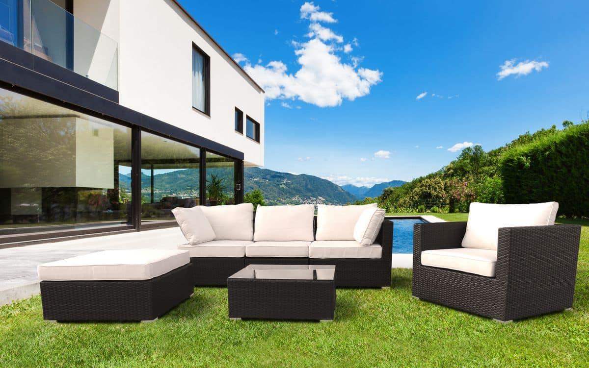 Set arredo per esterni divano e poltrone per giardino idfdesign - Divano in resina da esterno ...