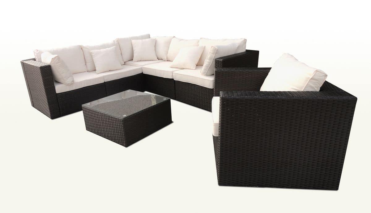 Set in rattan per esterni con poltrona e divano angolare - Tavolini poltrone sofa ...