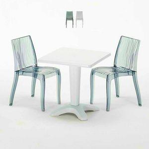 Tavolino Quadrato Bianco 70x70cm Con 2 Sedie Colorate Interno Esterno Bar DUNE TERRACE, Set da giardino con tavolino e sedie