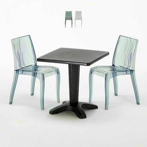 Tavolino Quadrato Nero 70x70cm Con 2 Sedie Colorate Interno Esterno Bar DUNE BALCONY, Set da giardino con tavolino e sedie