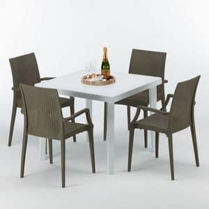 Tavolo e sedie da esterno giardino � S7090SETB4, Tavolino in polyrattan, per ristoranti e giardini