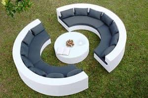 Uranio set, Divanetto semicircolare e tavolino rotondo per uso esterno