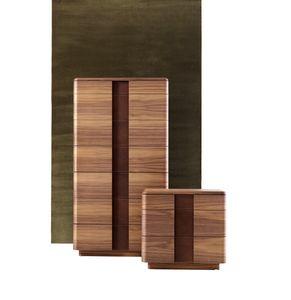 710802 York, Com� con sette cassetti, in legno e pelle
