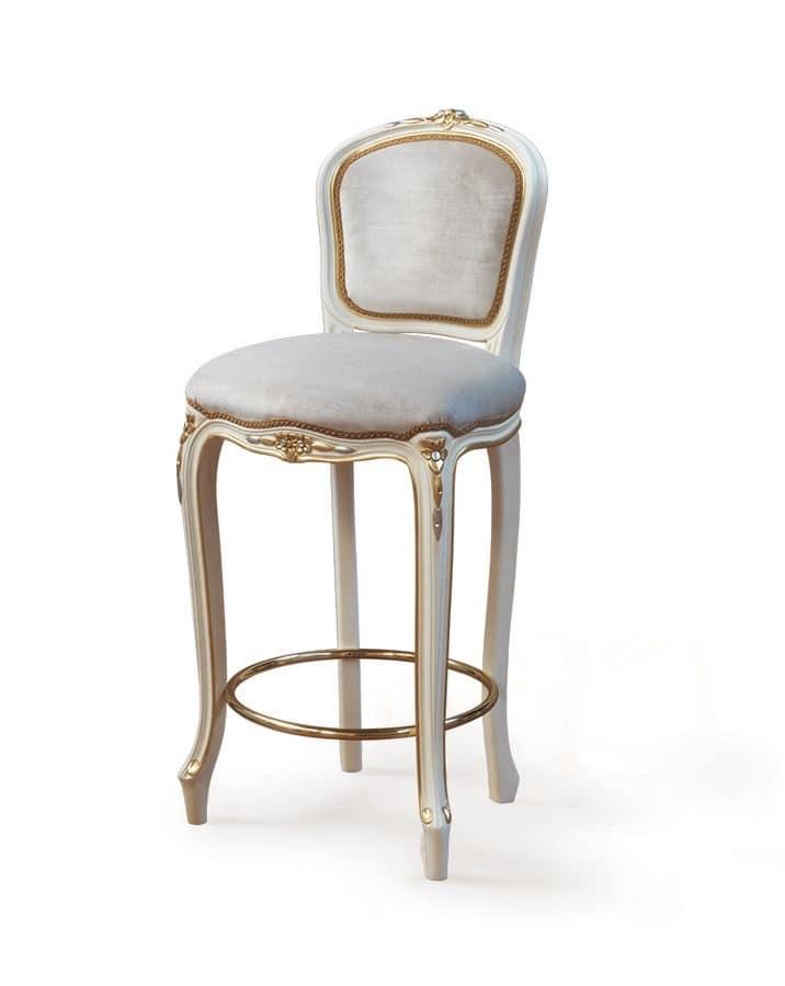 Sgabello classico di lusso con seduta e schienale - Sgabelli in legno per cucina ...