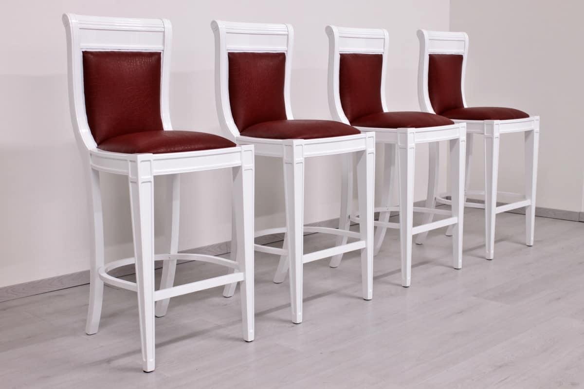 Sgabello laccato bianco stile impero idfdesign for Sgabelli rossi