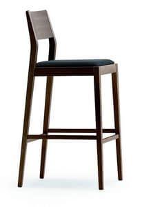 1107, Sgabello in legno con sedile imbottito, per cucine