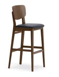 1109, Sgabello semplice in legno, per cucine e bar