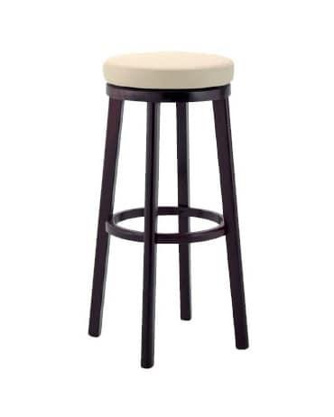 297, Sgabello in legno con seduta imbottita, per bar e pub