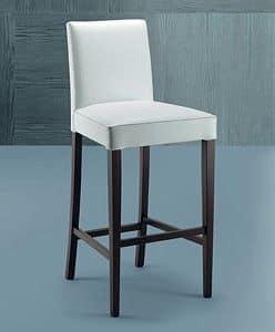 300 sgabello, Sgabello moderno in legno di faggio,  con schienale imbottito