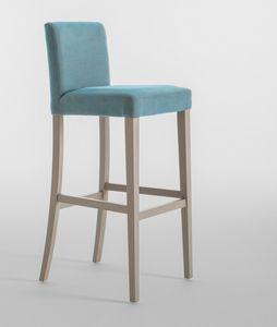 C03SG, Sgabello con struttura in legno, seduta e schienale imbottiti, per ristoranti e hotels