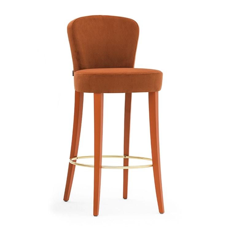 Euforia 00181, Sgabello in legno massiccio, seduta e schienale imbottiti, rivestito in tessuto, stile moderno