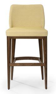 Katel stool B, Sgabello imbottito con schienale alto