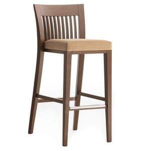 Logica 00984 - 00994, Sgabello in legno massiccio, seduta imbottita, copertura in tessuto, appoggiapiede in acciaio, per ambienti contract e domestici