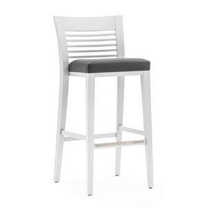 Logica 00985, Sgabello in legno massiccio, seduta imbottita, copertura in tessuto, appoggiapiede in acciaio, per ambienti contract e domestici
