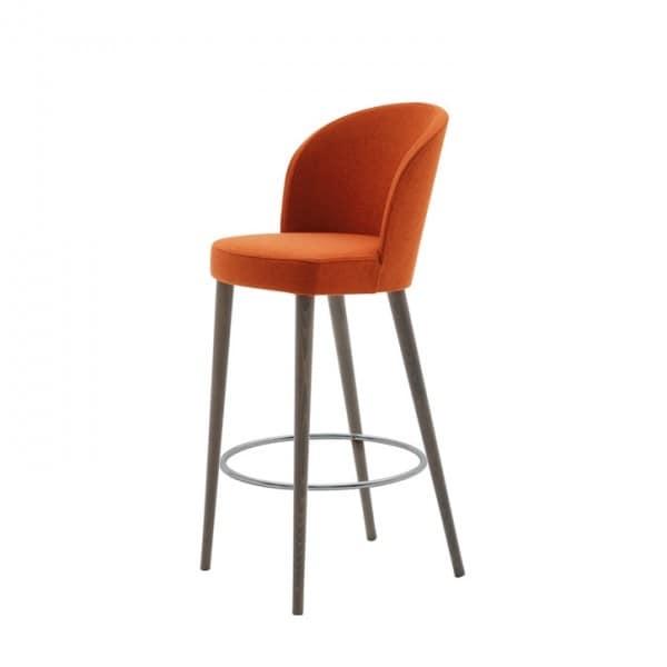 Rose 03081, Sgabello imbottito con seduta cinghiata, con poggiapiedi