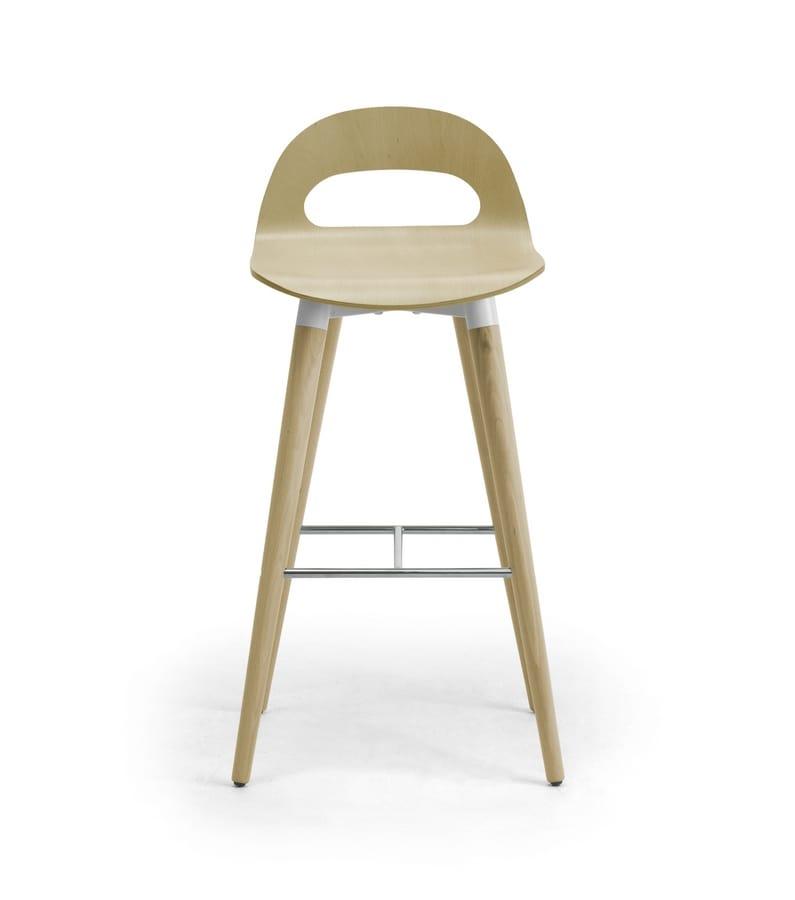 Samba Wood stool 4G, Sgabello con gambe e scocca in legno